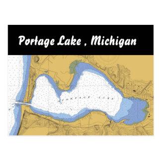 Portage See, MI-Seehafen-Diagramm-Postkarte Postkarte