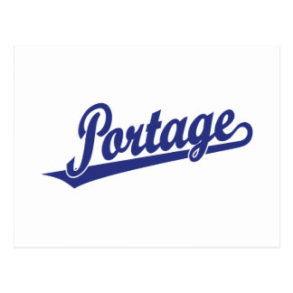 Portage Skriptlogo im Blau Postkarte