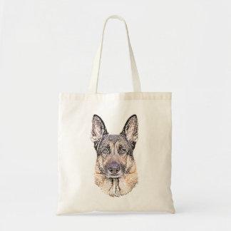 Porträt eines Schäferhund-Hundes skizzierte Kunst Budget Stoffbeutel