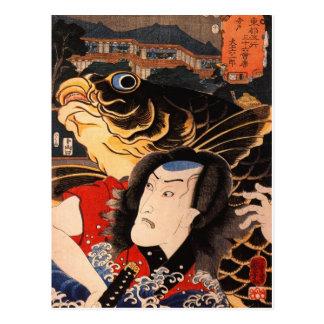Porträt eines Schauspielers mit einem Fisch Postkarte