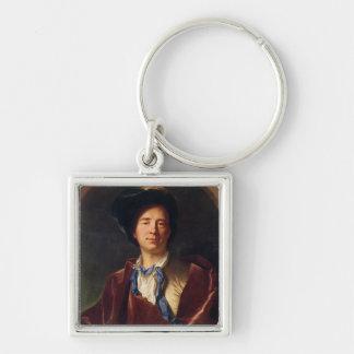 Porträt von Bernard le Bovier de Fontenelle Silberfarbener Quadratischer Schlüsselanhänger