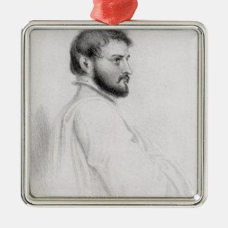Porträt von Johann Ludwig Burckhardt Quadratisches Silberfarbenes Ornament