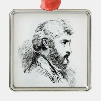 Porträt von John Lewis Burckhardt Quadratisches Silberfarbenes Ornament