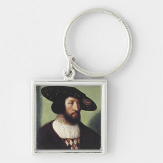Porträt von Kristian II Silberfarbener Quadratischer Schlüsselanhänger