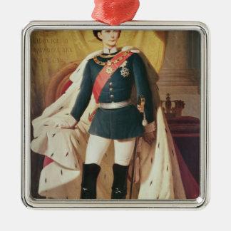 Porträt von Ludwig II von Bayern in der Uniform Quadratisches Silberfarbenes Ornament