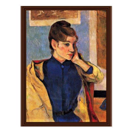 Porträt von Madeleine Bernard durch Gauguin Paul Postkarte