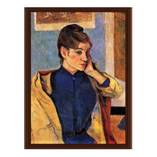 Porträt von Madeleine Bernard durch Gauguin Paul Postkarten