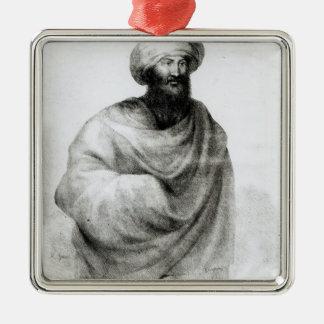 Porträt von Scheich Ibrahim oder von Johann Ludwig Quadratisches Silberfarbenes Ornament
