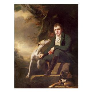 Porträt von Sir Walter Scott und seine Hunde Postkarte