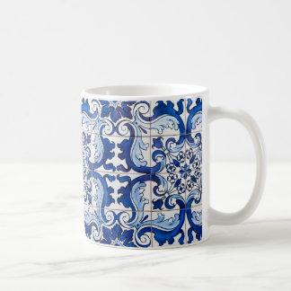 Portugiese-Azulejo glasig-glänzende Fliesen Tasse