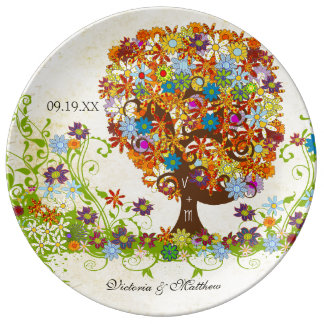 Porzellan-Hochzeits-Datums-Jahrestag Foral Baum Porzellanteller