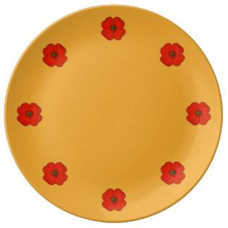 Porzellanplatte mit roter Mohnblume Teller