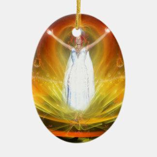Positive Energie-Göttin Ovales Keramik Ornament