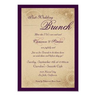 Posten-Hochzeit Brunch - Skript, lila 8,9 X 12,7 Cm Einladungskarte
