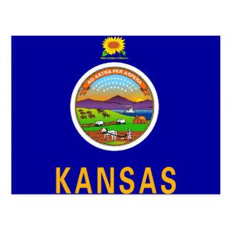 Postkarte mit Flagge von Kansas-Staat - USA