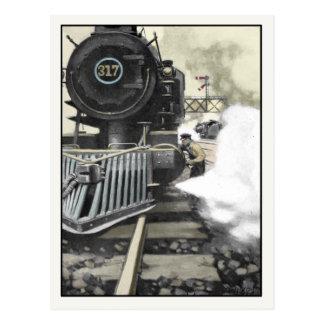 Postkarte mit Vintager Bahnillustration