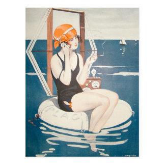 Postkarte mit Vintager Sommer-Illustration