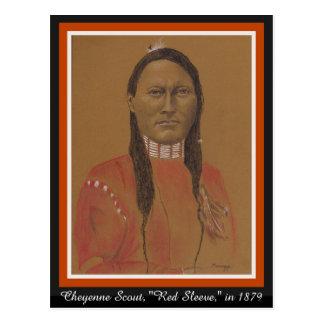 Postkarte, orig. Kunst von Cheyenne-Pfadfinder im Postkarte
