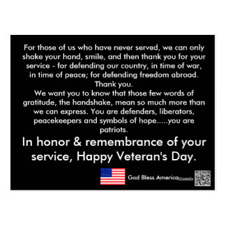 Postkarten des Veterans Tages