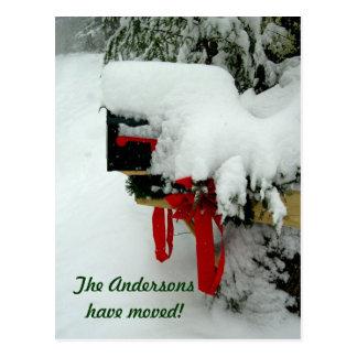 Postweg-neue Adressen-Winter-Mitteilung Postkarten