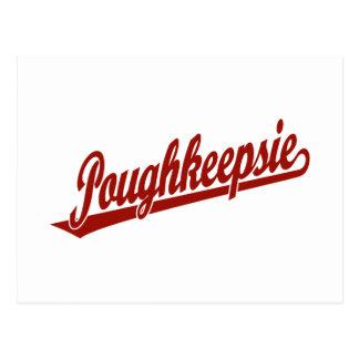 Poughkeepsie Skriptlogo im Rot Postkarte