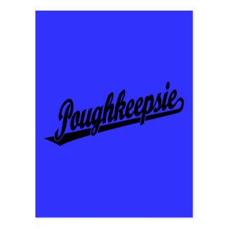 Poughkeepsie Skriptlogo im Schwarzen Postkarte