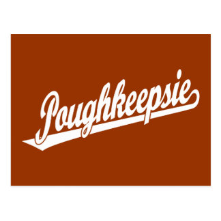 Poughkeepsie Skriptlogo im Weiß Postkarte