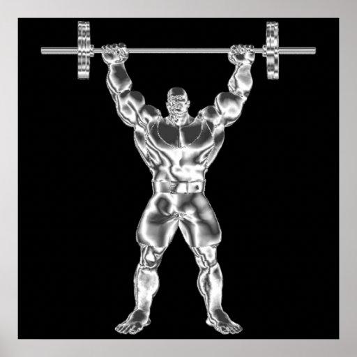 Powerlifter das Chrom der Männer Plakat