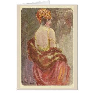 Prallplatten-Dame in der Abends-Abnutzung, Karte