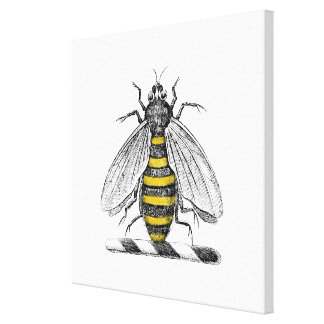 Preppy heraldisches Vintages Bienen-Wappen Emblem Leinwanddruck