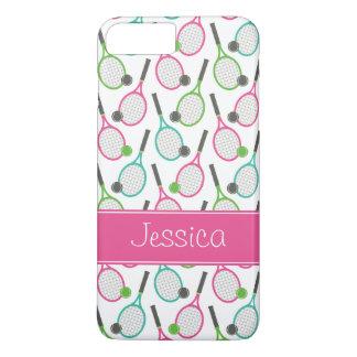 Preppy rosa grünes aquamarines Tennis-Muster iPhone 8 Plus/7 Plus Hülle