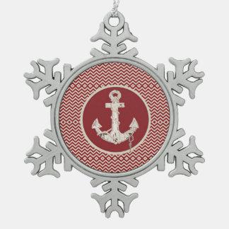Preppy SeeZickzack Strandanker burgunders Schneeflocken Zinn-Ornament