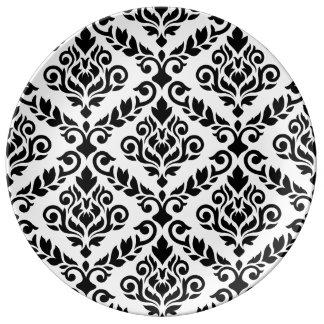 Prima Damast großes Ptn Schwarzes auf Weiß Teller
