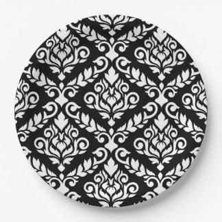 Prima Damast großes Ptn Weiß auf Schwarzem Pappteller