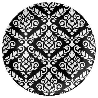 Prima Damast großes Ptn Weiß auf Schwarzem Teller