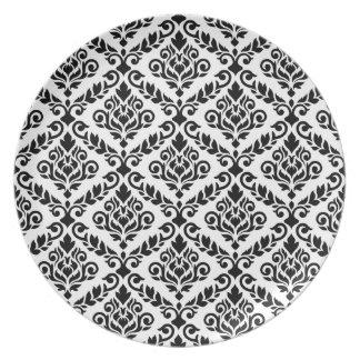Prima Damast-Muster-Schwarzes auf Weiß Melaminteller