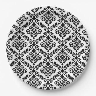 Prima Damast-Muster-Schwarzes auf Weiß Pappteller