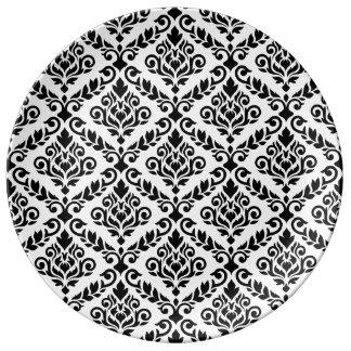 Prima Damast-Muster-Schwarzes auf Weiß Porzellanteller