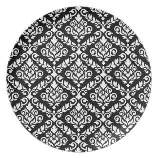 Prima Damast-Muster-Weiß auf Schwarzem Melaminteller