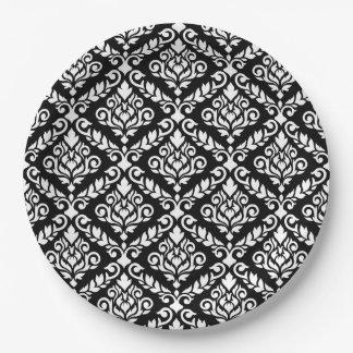 Prima Damast-Muster-Weiß auf Schwarzem Pappteller