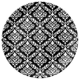 Prima Damast-Muster-Weiß auf Schwarzem Porzellanteller
