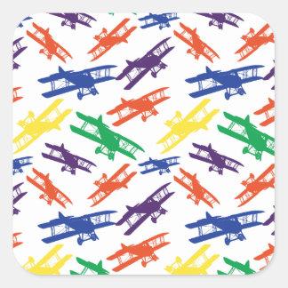 PrimärfarbVintages Doppeldecker-Flugzeug-Muster Quadratischer Aufkleber