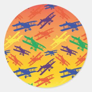 PrimärfarbVintages Doppeldecker-Flugzeug-Muster Runder Aufkleber