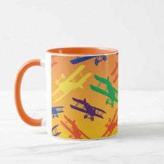 PrimärfarbVintages Doppeldecker-Flugzeug-Muster Tasse