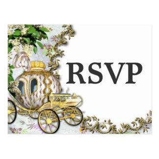 Prinzessin Carriage Theme Wedding RSVP Postcard Postkarte