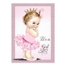 Prinzessin in der Ballettröckchen-Tupfen-Babyparty Einladungskarten