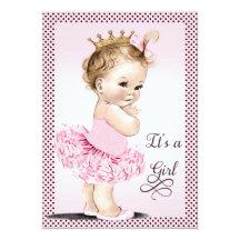 Prinzessin in der Ballettröckchen-Tupfen-Babyparty 12,7 X 17,8 Cm Einladungskarte