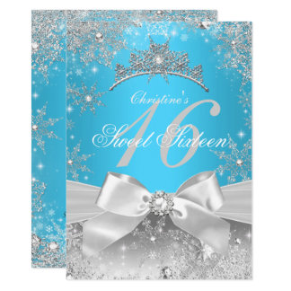 Prinzessin Winter Wonderland Blue Sweet 16 Karte