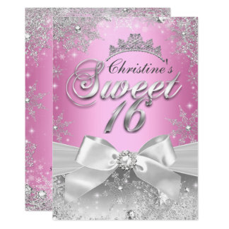 Prinzessin Winter Wonderland Pink Sweet 16 laden Karte