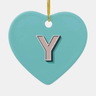 Produkt mit Buchstabe Y Keramik Herz-Ornament